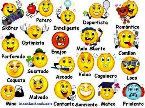 Caritas de emociones con nombres en inglés - Imagui