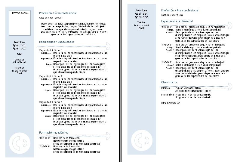 Plantillas Curriculum Vitae Para Rellenar Chile Plantilla De